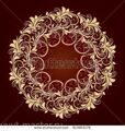 stock-photo-beautiful-circular-pattern-of-floral-ornament-with-leaves-colorful-mandala-on-the-burgun