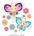 stock-vector-pink-and-blue-baby-butterfly-couple-flying-between-spring-flowers-in-love-58711573