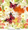 stock-vector-seamless-background-flowers-with-butterfly-vector-379660315