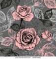 stock-vector-floral-seamless-pattern-with-blooming-roses-and-leaves-in-gentle-colors-pink-and-gray-h