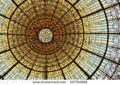 stock-photo-barcelona-sep-palau-de-la-musica-catalana-skylight-of-stained-glass-designed-by-antoni-r